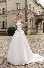 2016 Rommantic A-line Vestidos De Novia Lace-up Bride Dress rhinestone Beaded Wedding belt Gown noiva sereia