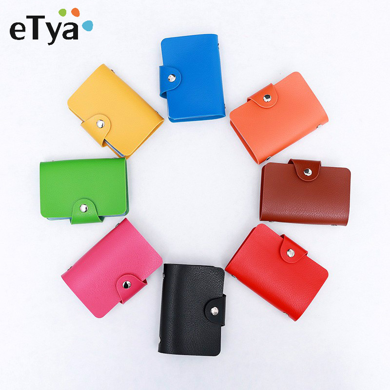 eTya High quality Leather Credit card protector Card Holder Wallets Bag Name Id Card Holder Case Wallet For Women Men As a Gift стоимость