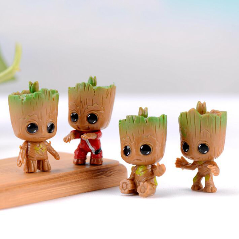 4pcs/set Marvel Guardians Of The Galaxy Avengers Tiny Cute Baby Tree Man Model Figure Toys 5cm
