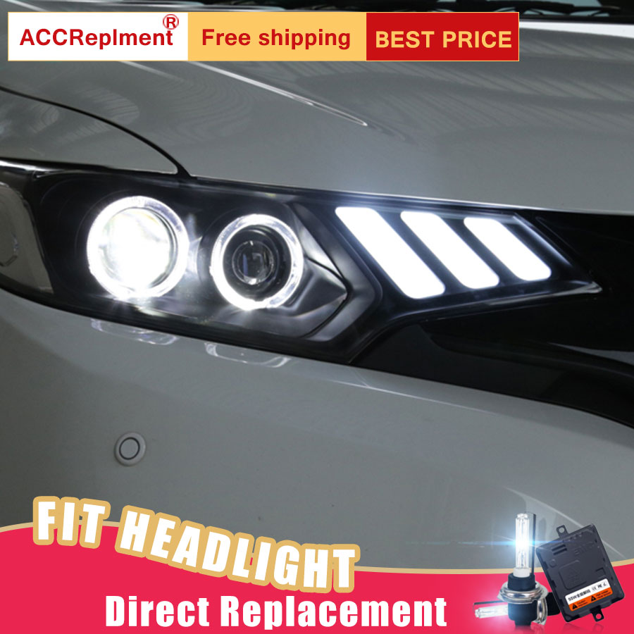 2Pcs LED Headlights For Honda Fit 2014-2016 led car lights Angel eyes xenon HID KIT Fog lights LED Daytime Running Lights dhl ems 5 lots anly ah3 3 ah33 time delay relay a1