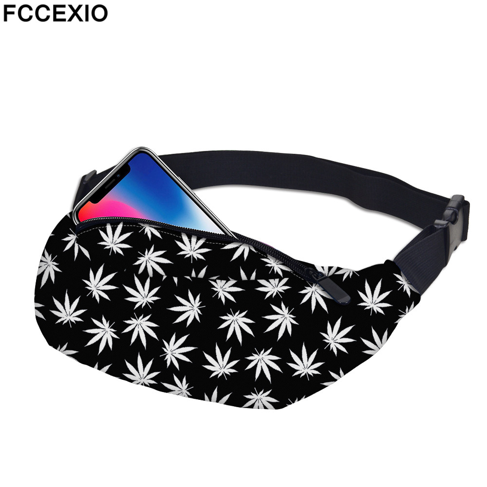 FCCEXIO New 3D Colorful Waist Pack For Men Fanny Pack Style Bum Bag White Weeds Women Money Belt Travelling Mobile Phone Bags new 3d colorful waist pack for men fanny pack style bum bag unicorn women money belt travelling mobile phone bag