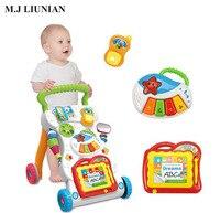 Детские Многофункциональные ходунки cart 3 в 1 комбо Музыка Фортепиано ничья младенческой способности развития коляска дети тележка ходунки