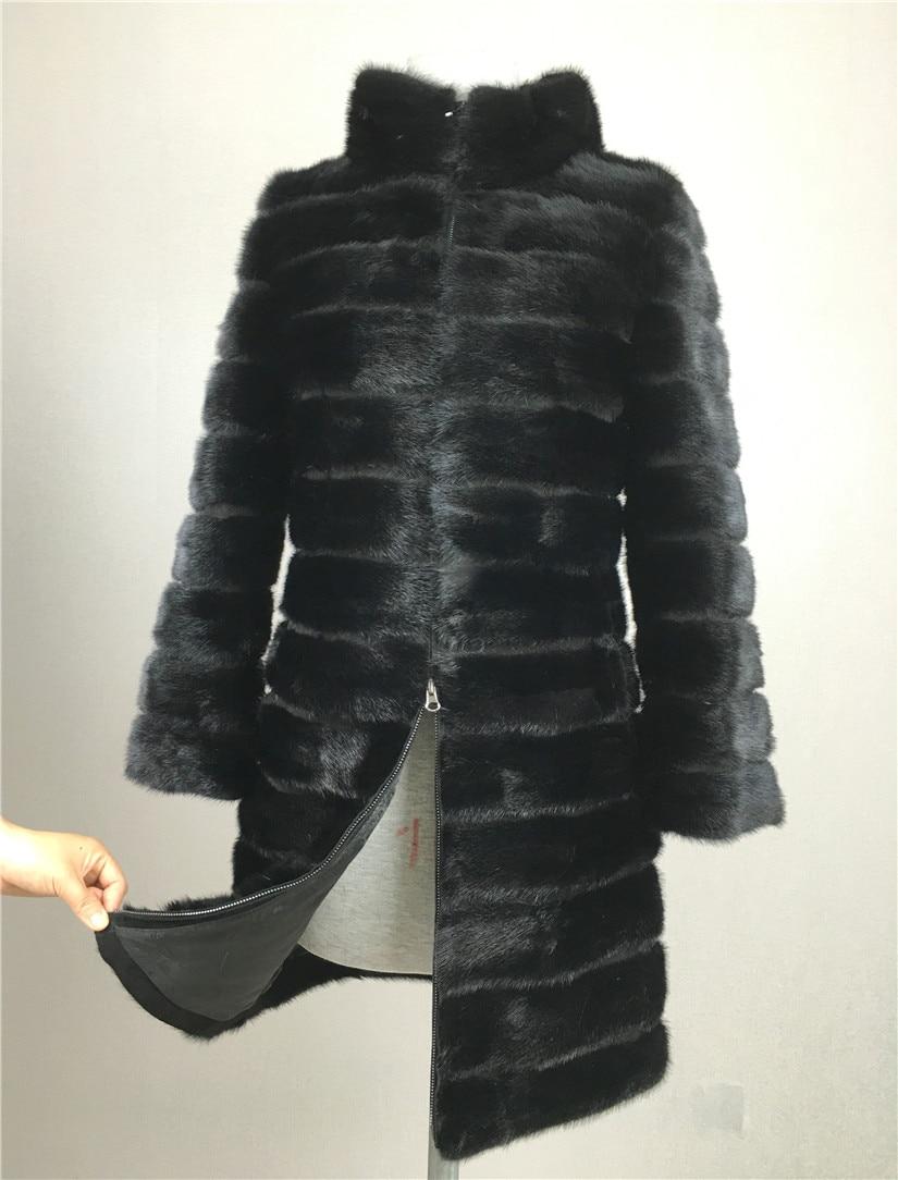 Pravi minki krzneni plašč LIYAFUR za naravne naravne ruske krznene plašče Luksuzne črne barve po meri