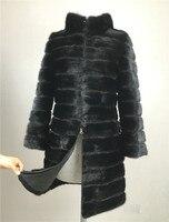 LIYAFUR 2017 Real Mink Fur Coat For Women Natural Genuine Russian Fur Coats Luxury Black Color