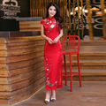 Nice Style Chinese Traditional Dress Red Wedding Dress Long Evening Dress Embroidery Cheongsam  Clothing
