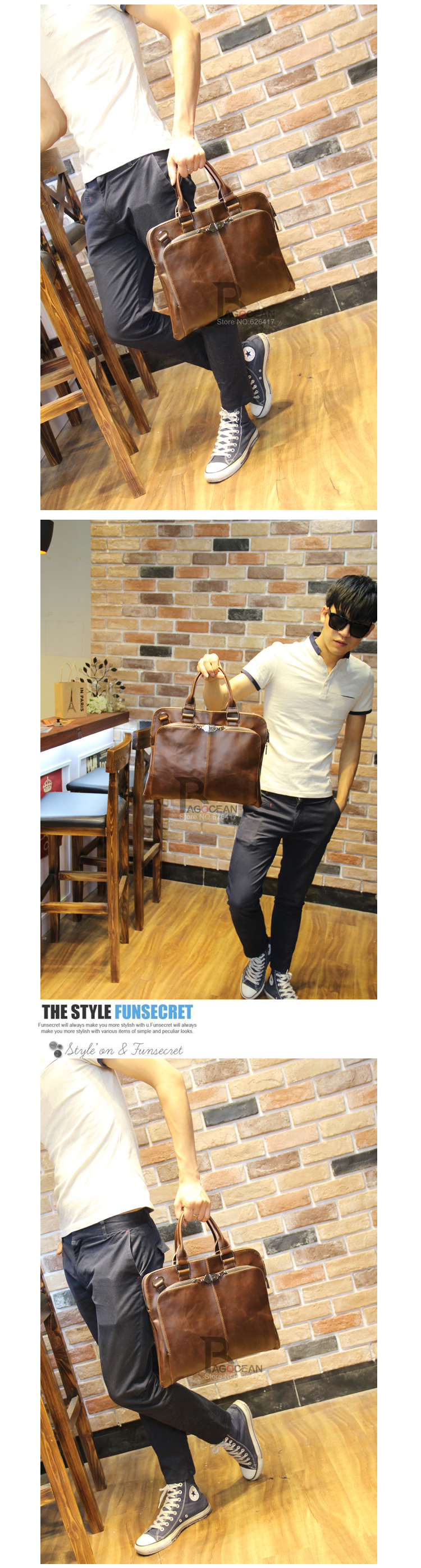 "New high quality pu leather Shoulder leisure men's bag business messenger portable briefcase Laptop large Purse 14"" Handbag 7"