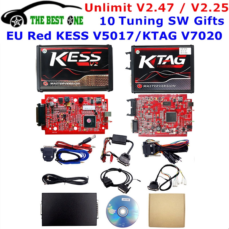 Online V2.47 EU Red Kess V5.017 OBD2 Manager Tuning Kit KTAG V7.020 4 LED Kess V2 5.017 BDM Frame K-TAG V2.25 ECU Programmer(China)