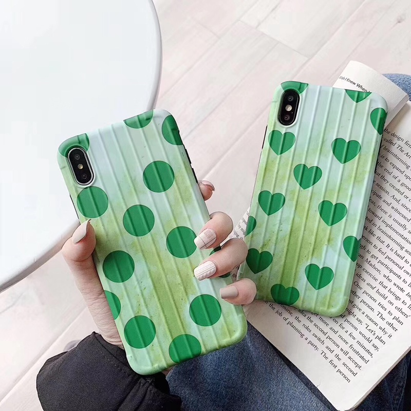 Retro Wave Point Polka Dot Love Phone Case For Iphone 8 7 6 6s Plus Curved Surface Luggage Case For Iphone X XS Max XR TPU Cover