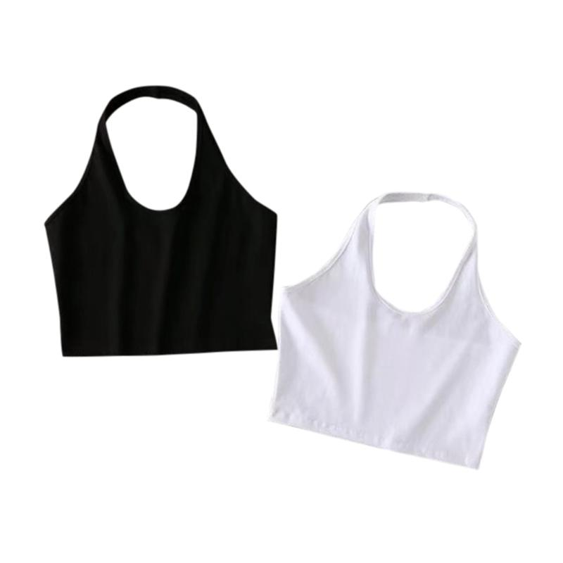 Sexy High Waist Short Style Halter Midriff-baring Short Vest 2018 New Fashion Solid Color Female Tank Tops Crop Tops Women 2018