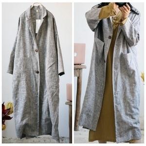 Image 4 - Women Retro Linen Thick Linen Trench Coat Outwear Ladies Autumn Spring Overcoat Long Coat Female Vintage Flax Coat 2018