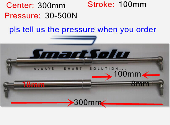 free shipping 30 to 500N force 300mm central distance,100mm stroke, stainless steel Gas Spring, Lift Prop Gas Spring Damper
