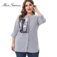 Plus Size Women Blouses Tops 2019 Summer Spring New Vertical Strip Shirts 5XL 6XL V Collar Print Three Quarter Sleeve ZPZ9044