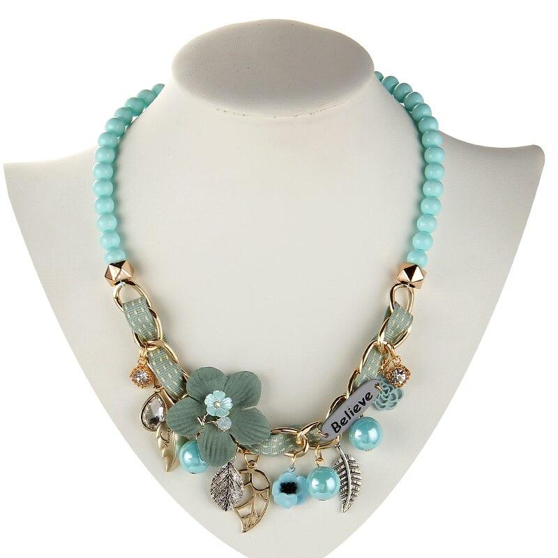 2019 nouveau collier de mode collier fleur colliers et pendentifs à la mode tour de cou grosse chaîne en métal déclaration collier de perles simulées 2