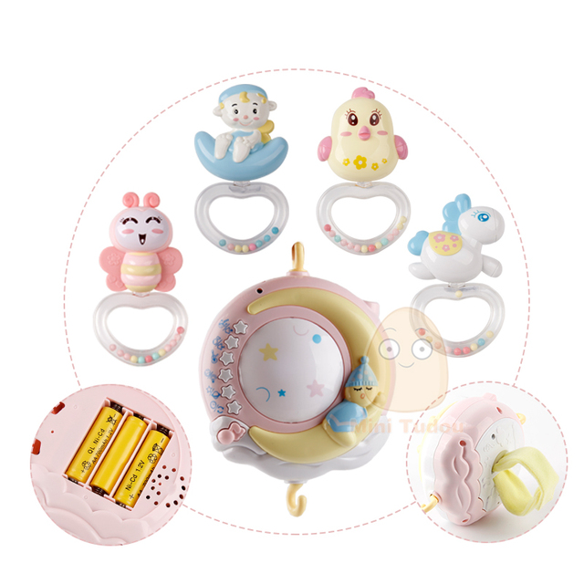 Baby Rattles Crib Mobiles Toy Holder Rotating Mobile Bed Bell Musical Box Projection 0-12 Months Newborn Infant Baby Boy Toys 2
