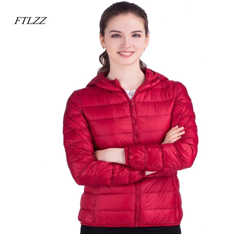 FTLZZ New Autumn Winter Ultra Light   Down     Coat   Women Casual Duck   Down   Hooded Jacket Short Design Warm Overcoat