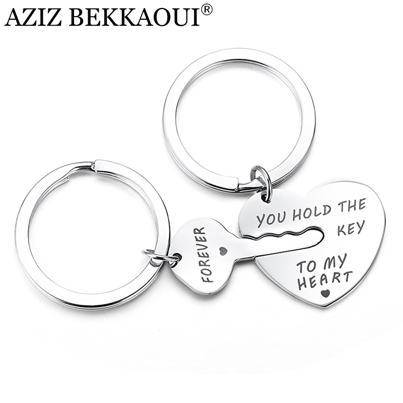 AZIZ BEKKAOUI Key&Heart Keychain Women Fashion Jewelry Men Keyring YOU HOLD THE KEY TO MY HEART FOREVER Couple Lovers Gift все цены