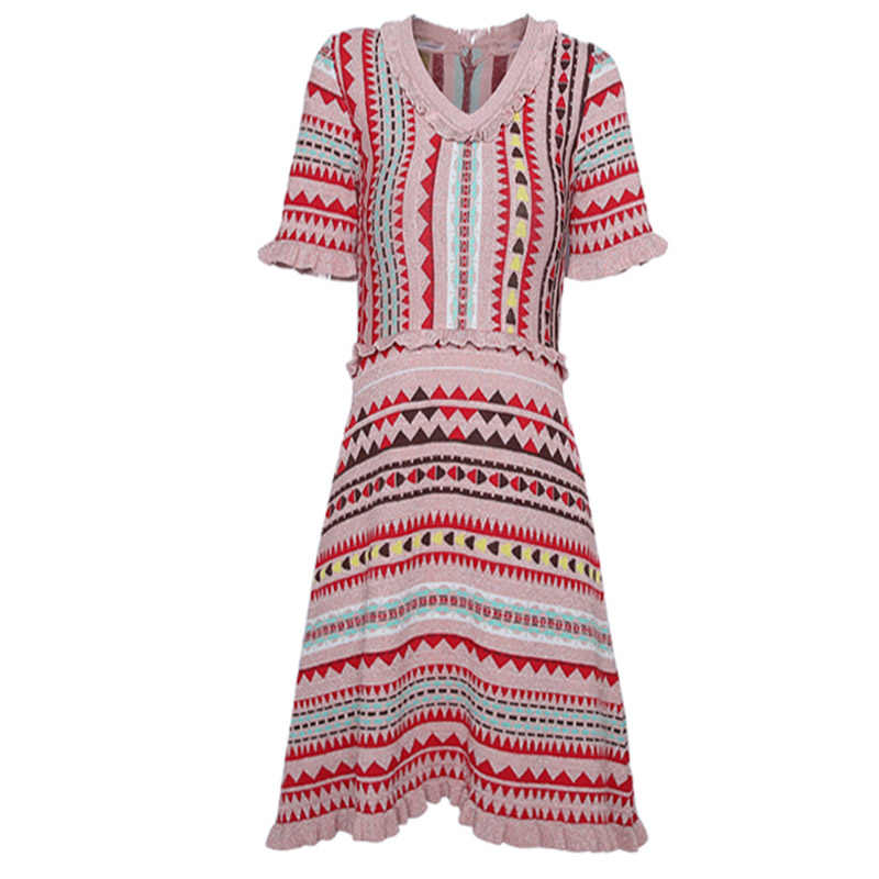 Свитер в богемном стиле, платье, модная уличная одежда, розовое трикотажное платье с короткими рукавами, летнее стрейчевое узкое жаккардовое трикотажное платье-свитер с узором