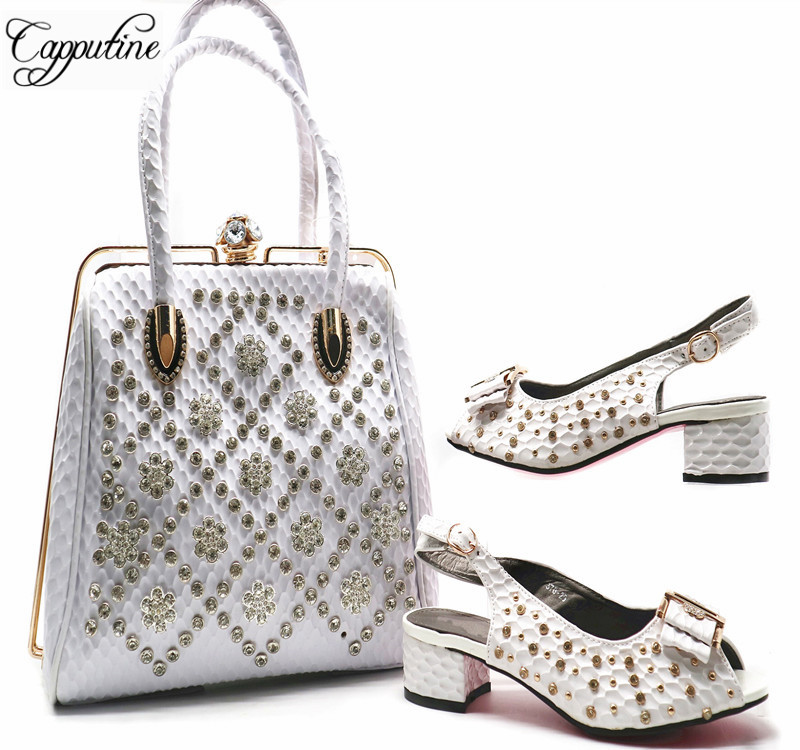 Capputine Italian Rhinestone Woman Party Shoes And Bags Set New African Middle Heels Shoes And Matching Bag Set For Wedding G57 capputine european style elegant rhinestone shoes and bags set african style woman high heels shoes and bags for wedding party
