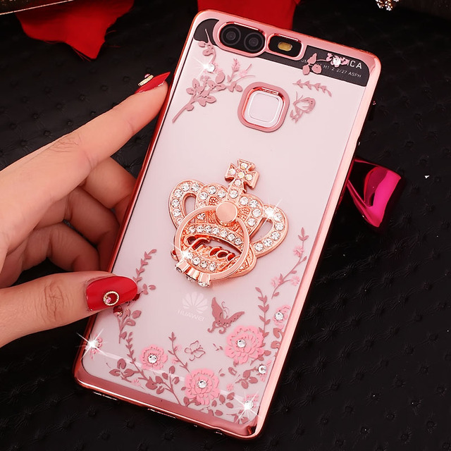 Bling Soft TPU Back Cover Case With Ring Holder For Huawei Y5 Prime Y7 2018 Y9 2019 Honor 10 8A 8C 8X Nova 3 3i P20 Lite P30 Pro