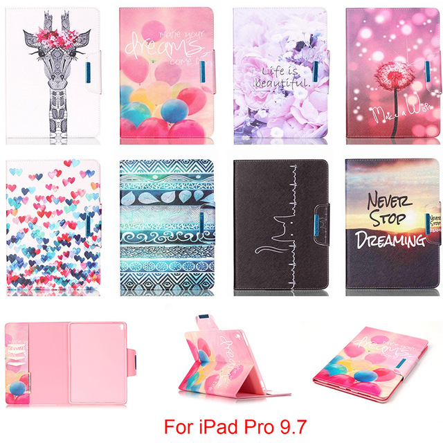 For Apple iPad Pro 9.7 Case Fashion Cartoon Pattern Folio PU Leather With Card Slot Protector Back cover For iPad Pro mini 9.7''