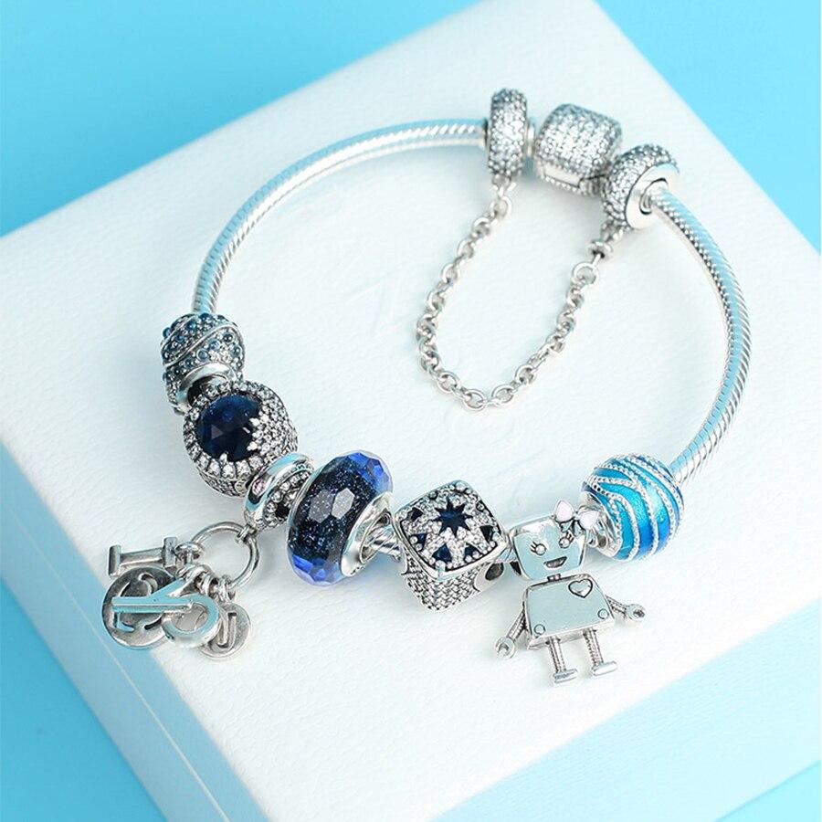 100% 925 argent Sterling tout neuf 1:1 véritable charme océan coeur Bracelet ensemble amour et amis thème Bracelet bijoux originaux