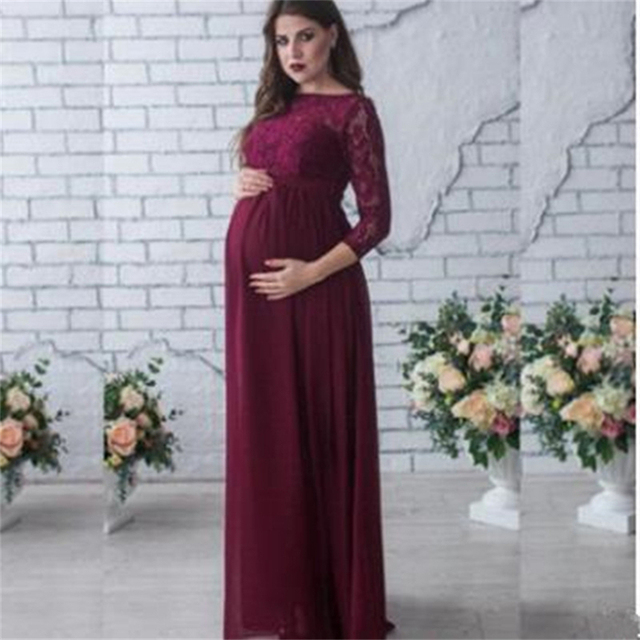 22dbaeb6e3d2f Maternity Women Wedding Dress Red Wine Evening Party Lace Elegant Pregnancy  Long Loose Clothes Pregnant Woman