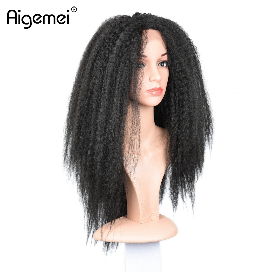 Aigemei חום עמיד תחרה Fron פאה יקי קינקי ישר - שיער סינתטי
