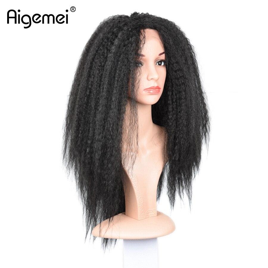 Resistente Ao Calor Lace Wig Fron Aigemei Qualidade Superior Yaki Kinky Em Linha Reta Peruca Sintética Do Laço Frontal