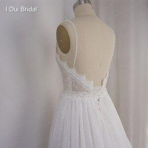 Image 5 - Robe de mariée en dentelle à bretelles Spaghetti perlées, effet dillusion, encolure, jupe courte à lintérieur, robe de mariée sur mesure en usine