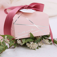 20pcs/lot high quality Pink Candy box Wedding gift box party Sugar Box with Silk ribbon Dessert companion packaging paper box