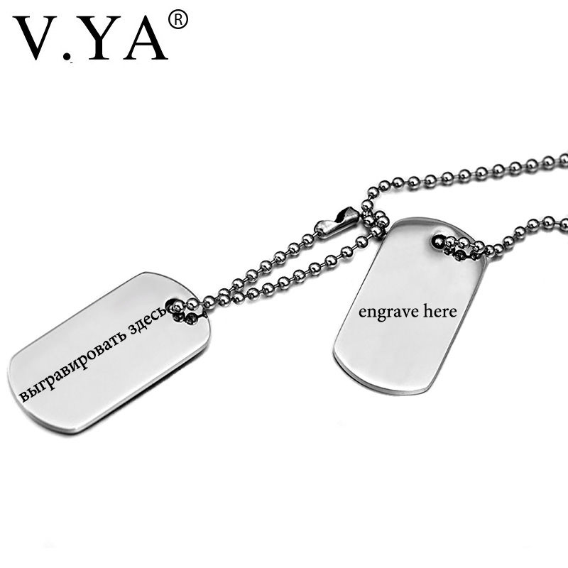 V.Ya Dog Tag Military Army ID Name Men Pendant Necklace High Quality Personalized Custom Engraved Stainless Steel Male Jewelries image