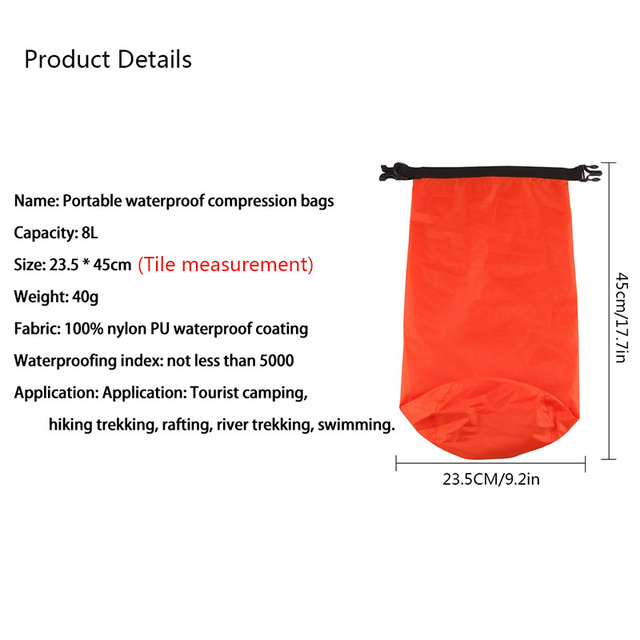 New Arrival 8L Portable Waterproof Outdoor Swimming Canoeing Hot Sale Good Quality Hiking Camping Dry Bag Pouch