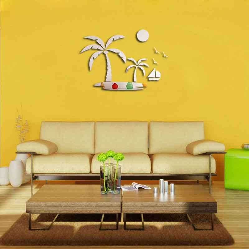 Modern Reflective Sticker Decal Mirror Decorative Wall Sticker Tree ...