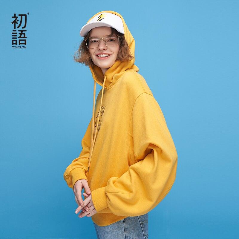 Toyouth Harajuku Lettre Sweats À Capuche Femmes 2018 Automne Solide Surdimensionné Hoodies Lâche À Manches Longues Frais Couleur Survêtement