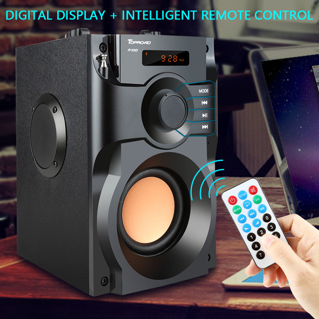 TOPROAD Big Power Bluetooth Speaker Wireless Stereo Subwoofer Heavy Bass Speakers Music Player Support LCD