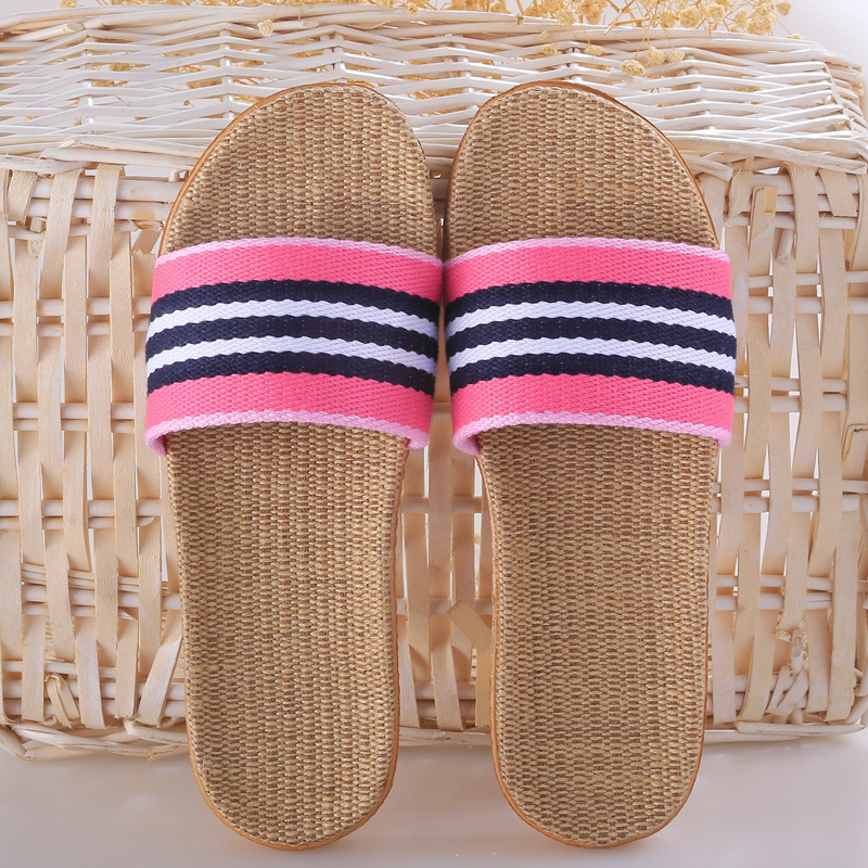 Women Summer Beach Flat Slippers Linen Home Slippers Non-slip Bathroom Slippers Soft Bottom Flip Flops Zapatillas de mujer coolsa women s summer flat non slip linen slippers indoor breathable flip flops women s brand stripe flax slippers women slides
