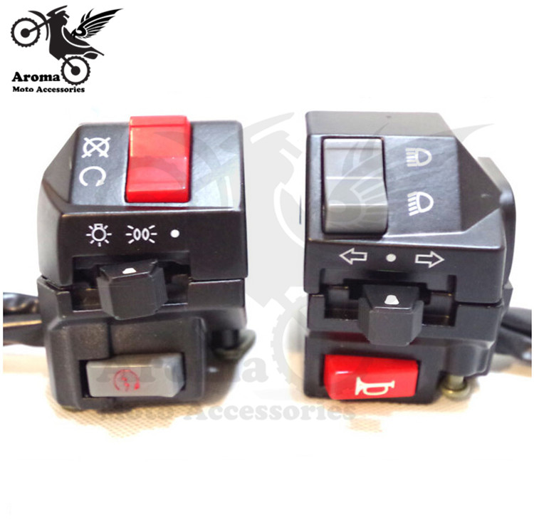 black left and right handle motorcycle switch for yamaha honda suzuki kawasaki motorbike handle switc moto handle grip switch
