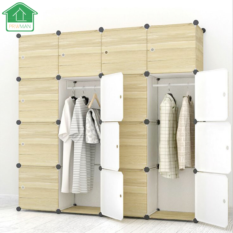 PRWMAN 2017 DIY Magic Piece of Resin Storage Cabinets Bedroom Wardrobe Furniture Cloth Adult Assembly Dormitory Student Wardrobe
