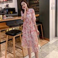 Vintage femmes une ligne robe à lacets imprimé taille élastique femme en mousseline de soie robe en cascade à volants Midi été Vestidos 2019