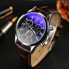 Splendid New Luxury Fashion Faux Leather Men Blue Ray Glass Quartz Analog Watches Casual Cool Watch Brand Men Watches 2017