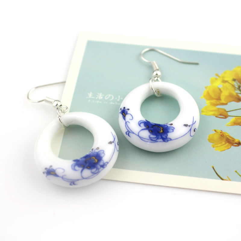 Fashion Romantic Blue and White Porcelain OL Earring Water Drop - Fashion Jewelry - Photo 6