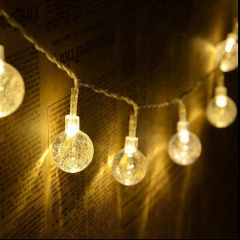 Хрустальный шар 7,5 м 50led Батарея led свет шнура Открытый свет украшения для дома праздник Рождество Свадебные Вечерние