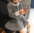 nova 2015 autumn winter fashion Houndstooth children clothing set knitted Cardigan+skirts 2pcs girl clothes set conjunto 2~7 age