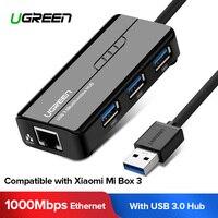 Ugreen USB Ethernet USB 3.0 2.0 naar RJ45 HUB voor Xiao mi mi box 3/s android TV Set -top Box Ethernet Adapter Netwerkkaart USB Lan