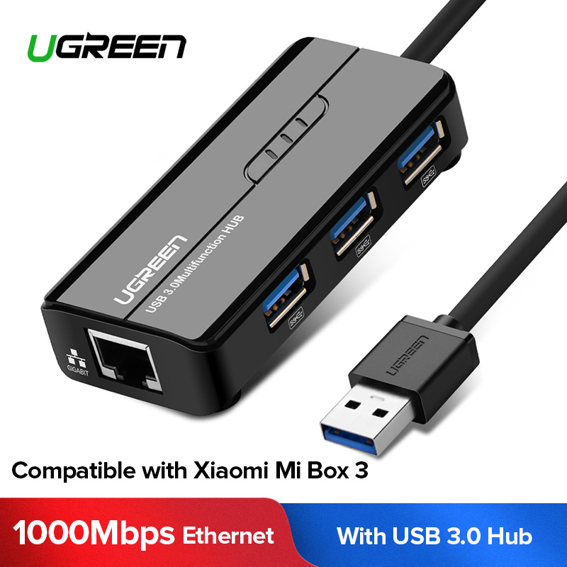 Ugreen USB Ethernet USB 3.0 2.0 til RJ45 HUB til Xiaomi Mi Box 3 / S Android TV Set-top-boks Ethernet-adapter Netværkskort USB Lan