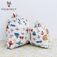 Бушевали овец Мода хлопок drawstring Бакалея Хозяйственные сумки складные тележки эко захватить многоразовые самолет печатных сумка