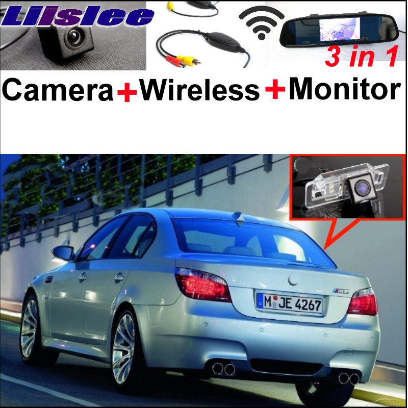 Liislee 3in1 Special WiFi Camera + Wireless Receiver + Mirror Screen Easy Back Parking Rear View System For BMW 5 M5 E39 E60 E61 liislee 3in1 special camera wireless receiver mirror screen diy rear view parking system for mercedes benz mb b class w245