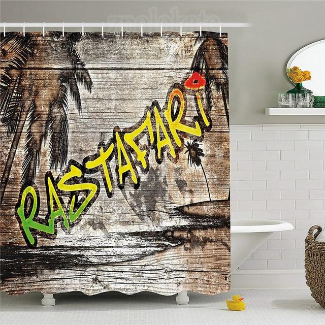 Rasta Shower Curtain Jamaican Reggae Music Icon Inspired Rastafari Street  Graffiti Image Fabric Bathroom Decor Set