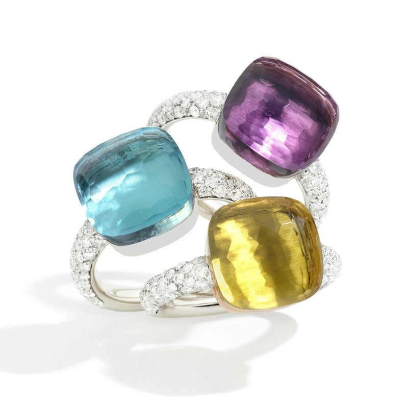 SLJELY คุณภาพสูง 20 ชนิดที่มีสีสันลูกอมคริสตัลสแควร์ Nudo แหวนทอง 3 สี Micro Zircon หินสำหรับผู้หญิงเครื่องประดับ