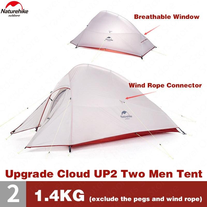 Naturehike Tente Mise À Niveau CloudUp Série 2 Personnes 20D Silicone Double couche En Aluminium Pôle Ultra-Léger de Camping Tente NH17T001-T